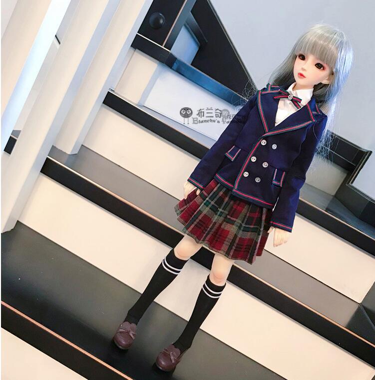 1/3 DD 1/4 MSD BJD Doll Coat Skirts Doll Accessories Student Japanese European School Uniform Blue Blazer Set
