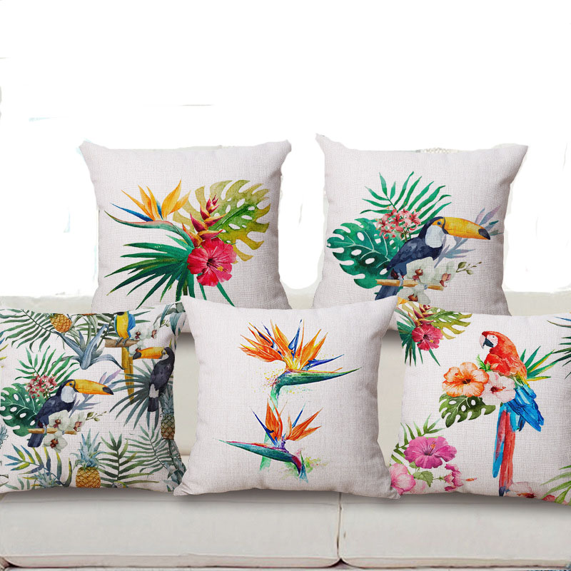 Square 18 Hand painted Tropical Flower Leaves Tree Linen