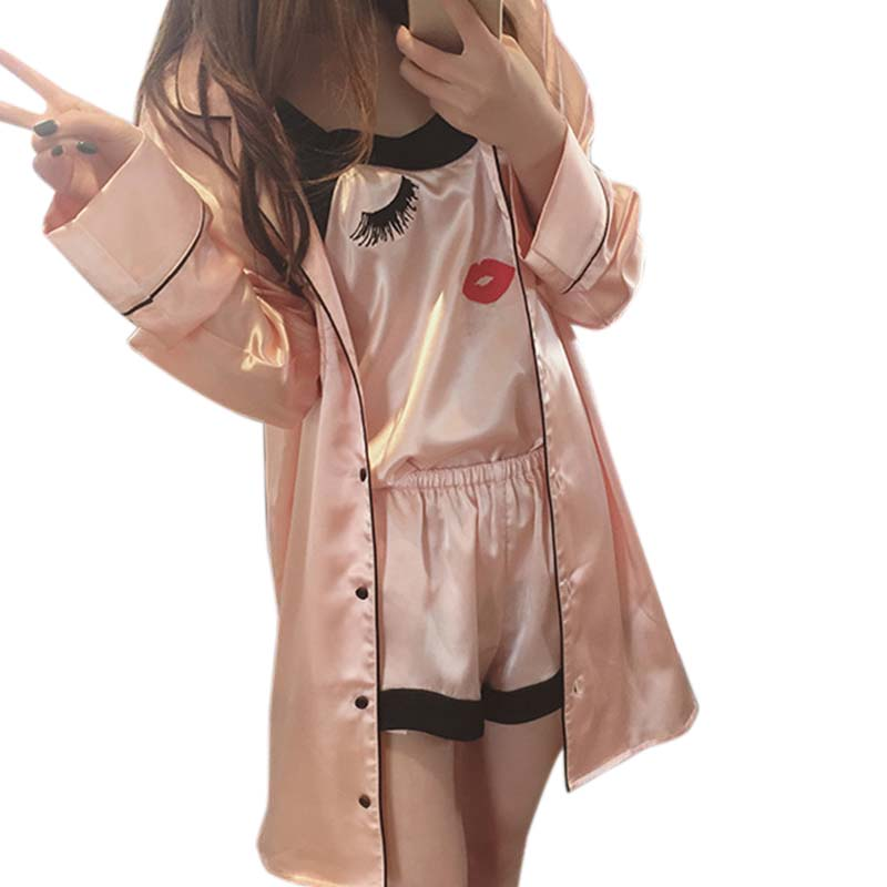 Women Sling   Pajamas   Sexy Silk Nightgown Long-sleeved Silk Female Cute Home Suit   Pajama     Sets   3 Pieces Pink