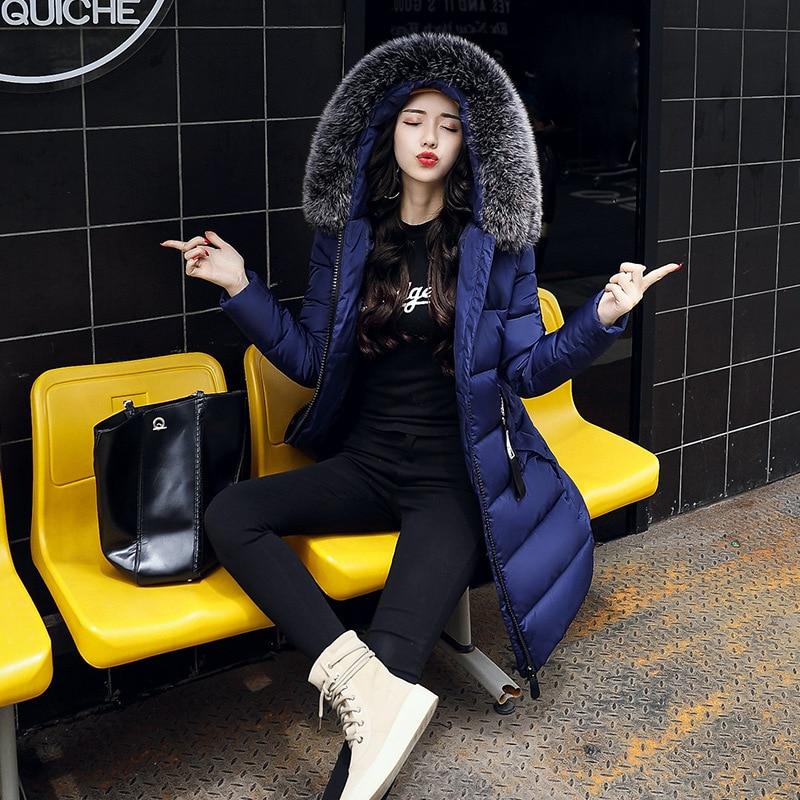 2017 New Women Long Winter Jacket Plus Size Warm Cotton Coat Pure Color Hooded Fur Collar Female Parkas womens parkas with fur hoods winter warm long denim jeans velvet hooded long ladies wool coat jacket 2017 plus size blue clothes