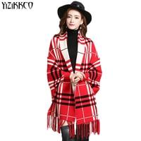 Hot Sale 2016 Women Sweater Warp Swing 5 Colors Plus Size Super Fan Plaid Fashion Cardigan