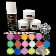 Burano 3Pcs acrylic nail kit  Acrylic Powder Liquid 75ML & 18 colored powder Nail Art Tips Manicure Set power 2906