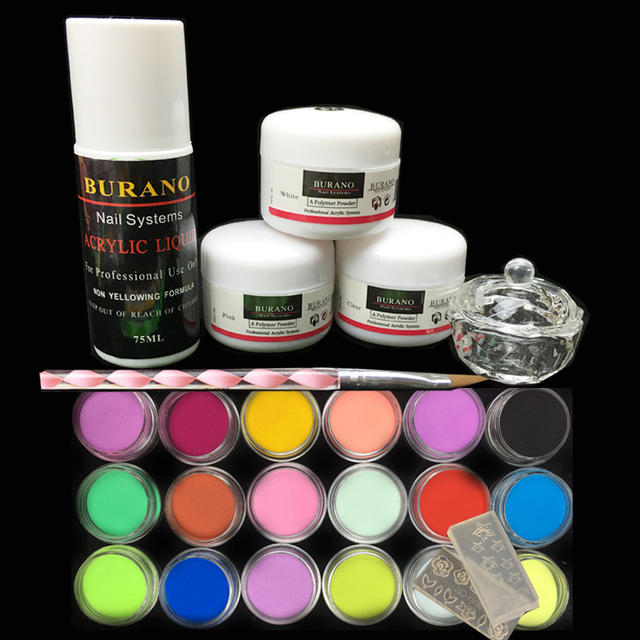 Burano 3Pcs acrylic nail kit  Acrylic Powder Liquid 75ML & 18 colored powder Nail Art Tips Manicure Set power 2906