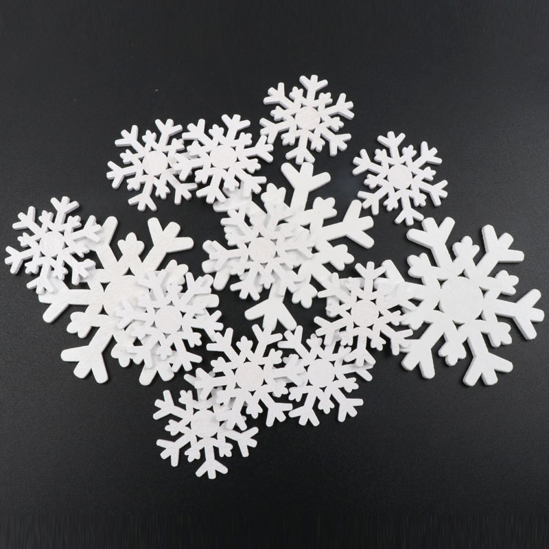 Handmade Wooden Crafts Accessory Home Decoration Scrapbooks DIY Christmas Festival White Snowflake Wood Ornaments 35-62mm
