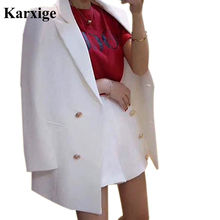 autumn New Korean slim Women Casual Short pant double breasted golden Button Elegant Attractive pure Color Office Lady Suits