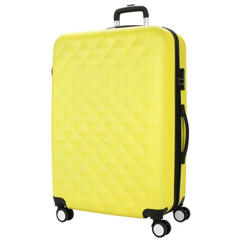 Bright yellow suitcase PROFFI TRAVEL PH8646 yellow L, plastic integrated weights, large a combination lock malciklo yellow l