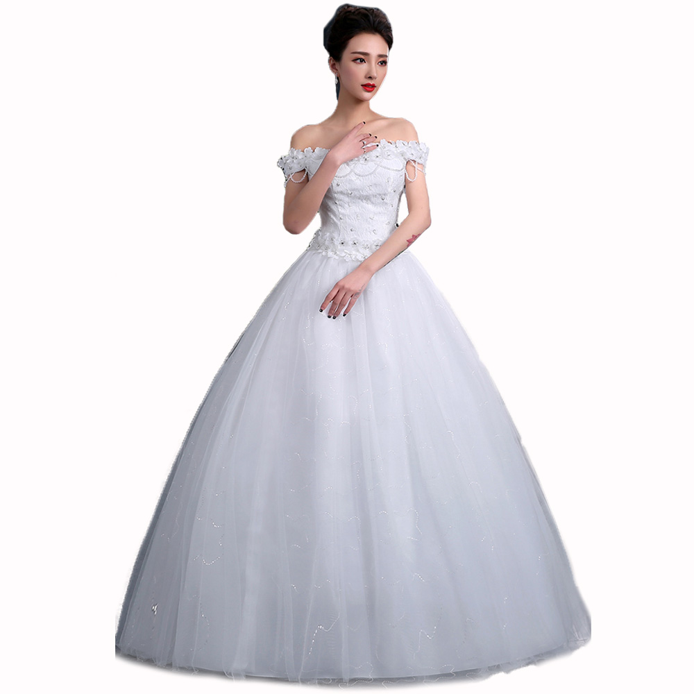 2017 new korean style white ball gown dress boat neck for Floral wedding dresses 2017