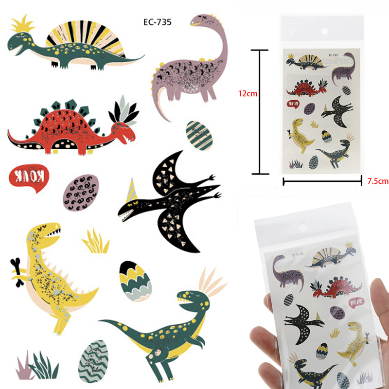 Colorful Jurassic Dinosaur Children Tattoo Stickers Body Face Art Cartoon Temporary Tattoo Kids Hands Children Flash Tatoo Gifts