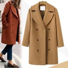 Wool Coat Blend Womens Long Windbreaker Woolen Winter Fall Jakcet Khaki Warm Thick Coats Autumn Cardigan Elegant Clothing