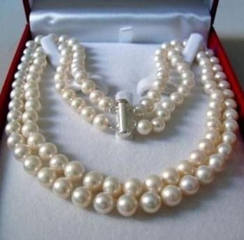 "2 Rows 7-8MM WHITE AKOYA SALTWATER PEARL NECKLACE 17-18"" beads jewelry"