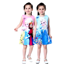 Girl Clothes Dress Cartoon Princess Pattern Print Vestido Infantil Childrens Wear 2-7 Y Child Quality Clothing 2019 Hot Sale