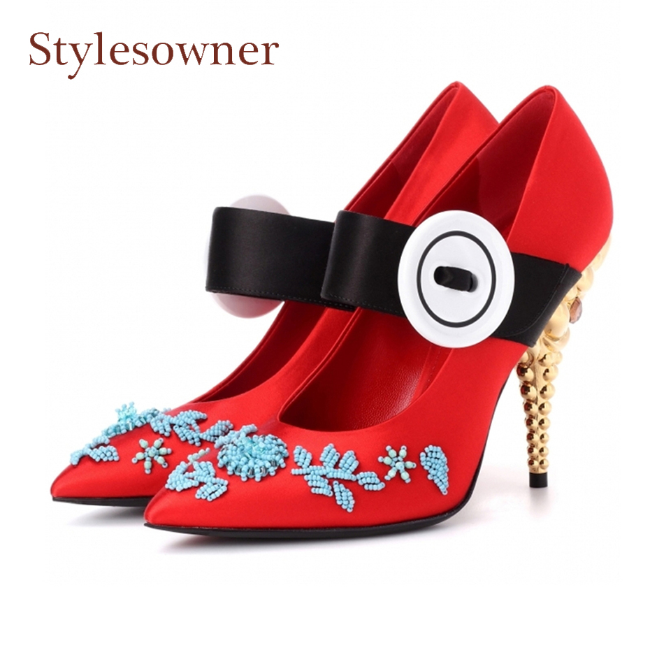 Stylesowner Spring New Women Pumps Silk Shallow Shoes Pointed Toe Button String Beads Strange Heels Women Party Wedding ShoesStylesowner Spring New Women Pumps Silk Shallow Shoes Pointed Toe Button String Beads Strange Heels Women Party Wedding Shoes