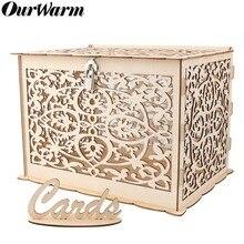 OurWarm DIY коробка для свадебных подарочных карт деревянная копилка с замком Красивые свадебные украшения для дня рождения
