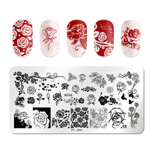PICT YOU Rectangle Nail Stamping Plates Template Rose Flower Series Stainless Steel Image Stamp Stencils Tool J002