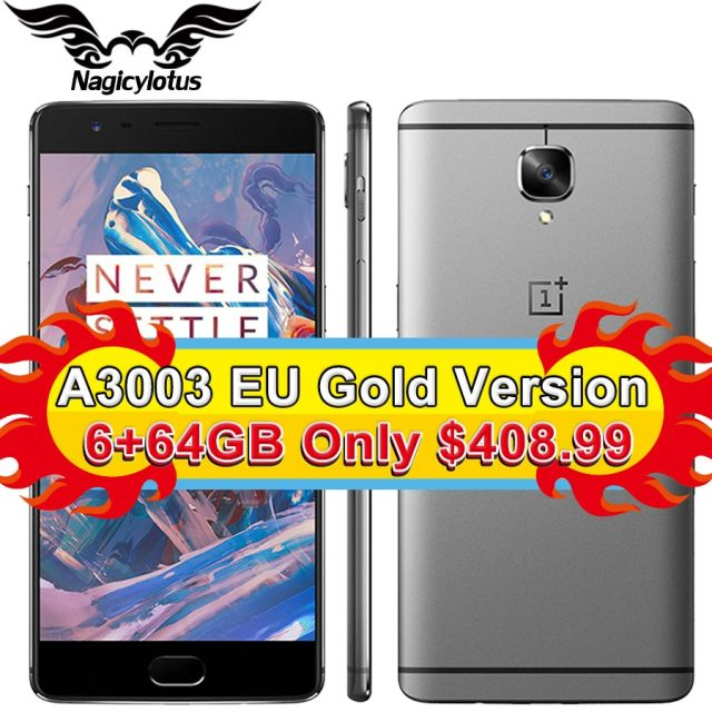 Original OnePlus 3 A3003 1920*1080px 5.5inch Snapdragon 820 Quad Core Smartphone 6GB RAM 64GB ROM Touch ID 16MP NFC Mobile Phone