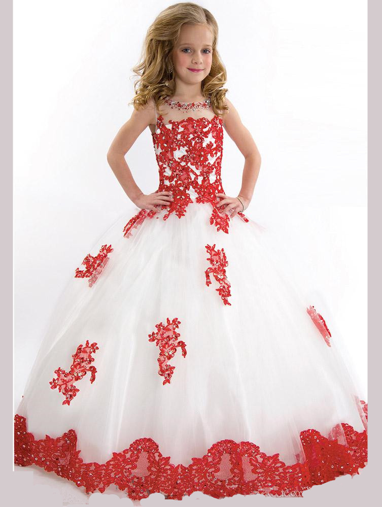 Fashion   girls   Scoop Neck   Flower     Girl     Dresses   Floor-Length Show   dress   party gowns custom made   Girls   Pageant   Dresses