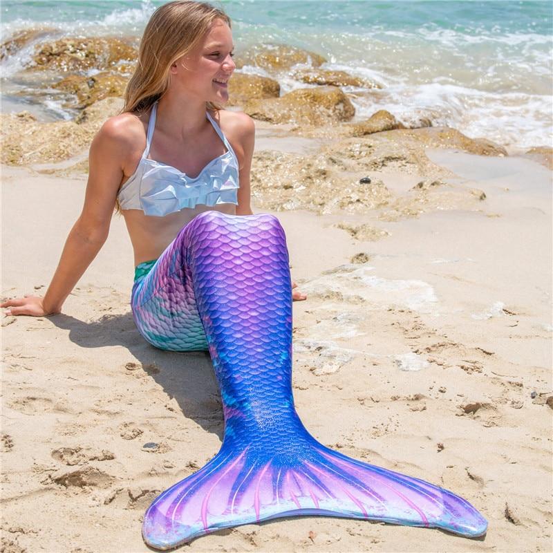 Summer Beach Vacation For Kids Adult Swimsuit High Waist Bikini Mermaid Tail Mermaid Swimwear Zeemeerminstaart Cauda De Sereia