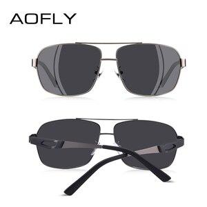 Image 4 - AOFLY marka tasarım erkekler polarize güneş gözlüğü Metal kare güneş gözlüğü sürüş gözlükleri tonları erkekler óculos masculino erkek AF8185