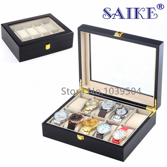 Free Shipping 10 Grids Watch Display Box Black MDF Watch Box Fashion Watch Storage Box With Lock Gift Box A028 2015 high quality black mdf mounted outside black pu leather 3 grid watch display box storage box free shipping ag442