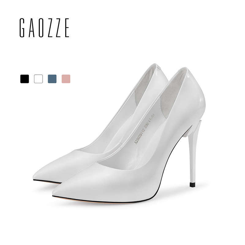 GAOZZE Fashion Patent Leather Pointed Toe Stiletto High Heels Solid Color Office Shoes Female Slip-On Women Pumps Shoes 2018 New 2017 shoes women med heels tassel slip on women pumps solid round toe high quality loafers preppy style lady casual shoes 17