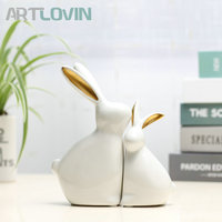 New Arrivals Easter Modern Ceramic Creative Rabbits Figurines Animal Crafts Miniatures For Home Decoration Tabletop Ornaments