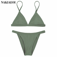 Halter Bikini 2016 Sexy Swimwear Women Cut Out Brazilian Bikini Set Bandage Beach Wear Swimwear Female
