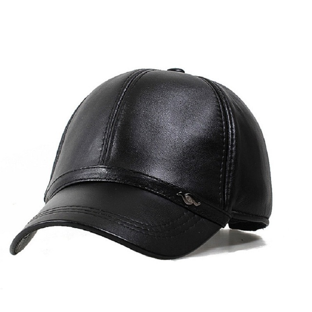 Men'S Dome Casquette Pu Leather Baseball Caps Adjustable Winter Hat Thicken Solid Black Snapback Tab Cap For Male