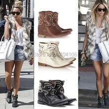 Alta calidad remache tachonado Roma Vintage zapatos Mujer puntiagudos tobillo Botas Mujer altura creciente cuña Botas de cuero Mujer