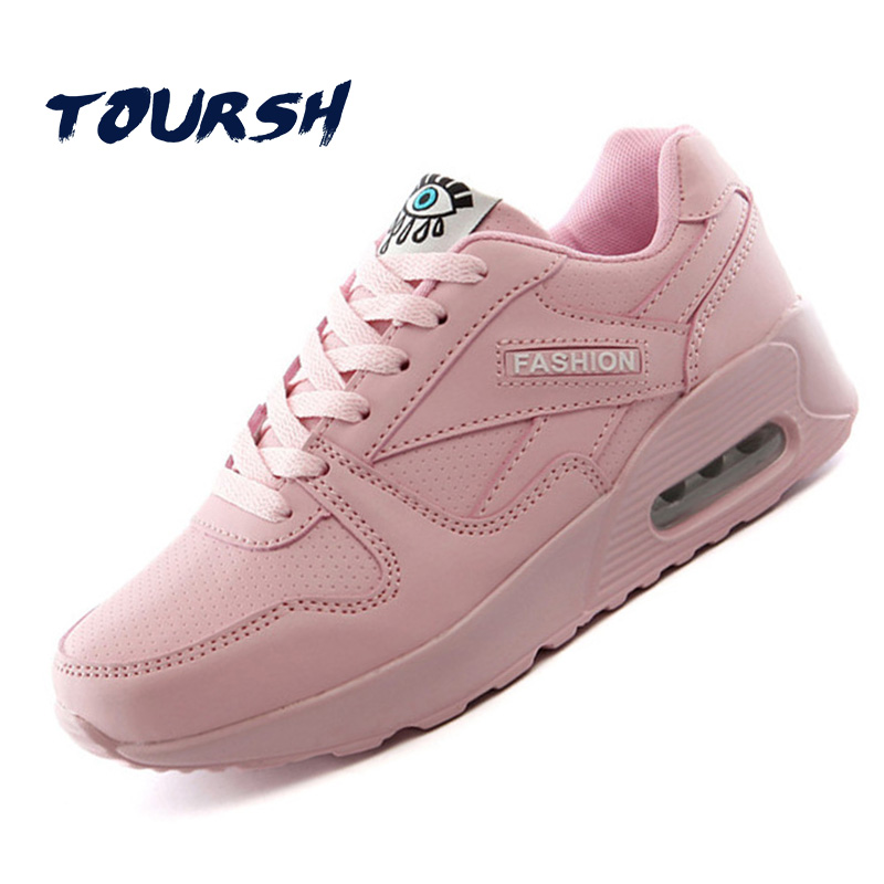 TOURSH Women Fashion Sneakers Women Shoes Tenis Feminino Casual Shoes Women Krasovki Shoes Flats Pink Lace Up Ladies Shoes 2017 instantarts casual teen girls flats shoes appaloosa horse flower pattern women lace up sneakers fashion comfort mesh flat shoes