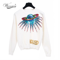 Warmsway Autumn UFO Planet Sequins Letters Knit Pullovers Female Sweater Jumper Long Sleeve Loved Letter Sweater