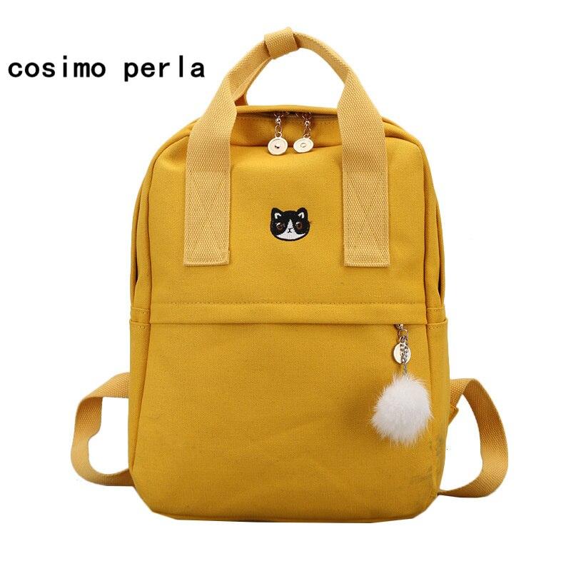 26d50090335c Korea Cute Cat Embroidery Backpacks Canvas Laptop School Bags for Teenage  Girls Ball Tote Handle Best Kanken Backpack Women 2019
