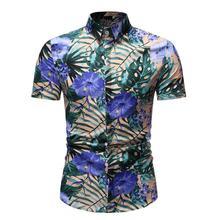 Social Shirt for Men hawaiian Evening Dress Shirt Floral Casual Blouse Men Slim fit Flower New Summer New