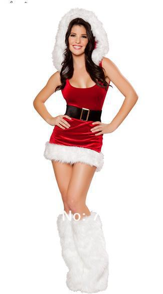 Free Shipping Hot Selling Women Christmas Costume Santa Girl Costume