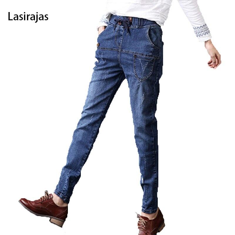 ФОТО Fashion American Jeans Women Harem Pants Boyfriend Style Loose Wide Long Trousers Drawing Waist Women's Jeans Plus Size 5XL 7XL