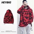 Cordão Moda Camo Capuz 2016 De Dezembro Vermelho Camuflagem Rua HEYBIG hip hop Hoodies Moletons Tamanho Asiático