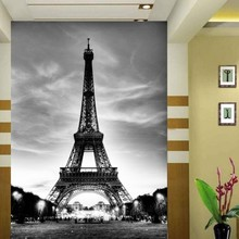 3D effect Eiffel tower large mural modern minimalist black and white photo style wallpaper porch wall covering household decor