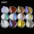 12pcs/set Shinning Mirror Effect Nail Glitter Powder + Brush Manicure Magic Chrome Pigment Glitters Nail Art Decoration #01-12