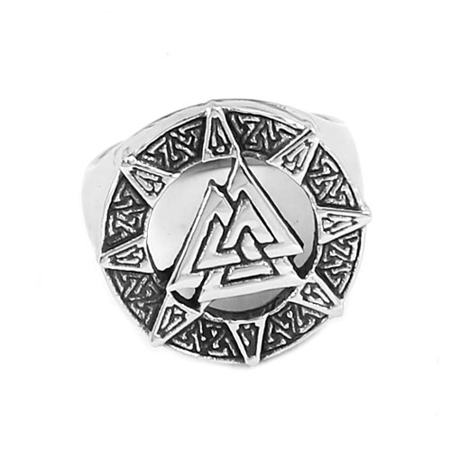 Norse Viking Mens Ring Celtic Knot Amulet Ring Stainless Steel Jewelry Punk Odin Symbol Motor Biker
