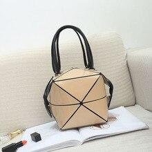 цены Fashion Handbag Female Folded Ladies Geometric Plaid Bag Fashion Casual Tote Women Handbag Mochila Shoulder Bag Bao Black