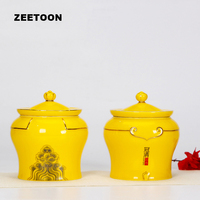 2PCS Chinese Kung Fu Tea Set Ceramic Glaze Tea Cans Caddy Coffee Bean Storage Pot Seasoning Seal Jar Vintage Home Decor Gift Box