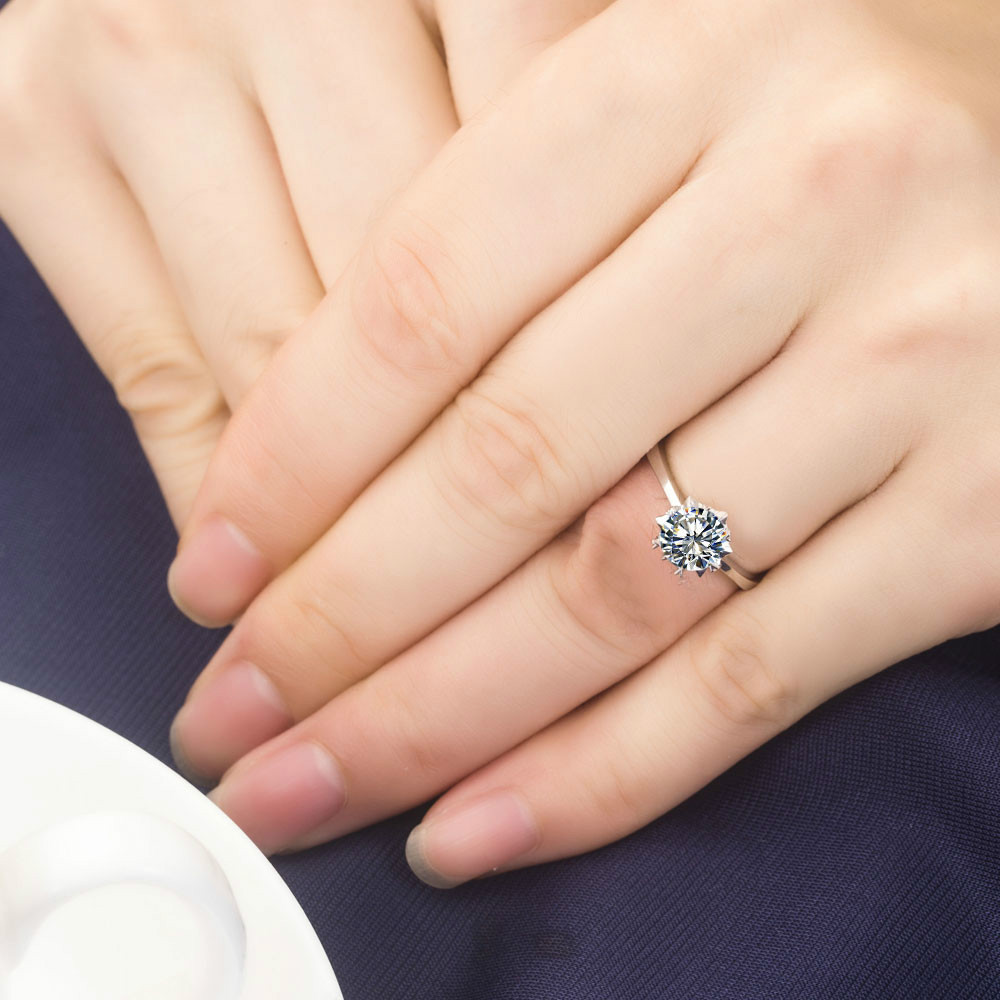 1 Ct Solid Gold 14karat Snow Flake Style Solitaire Permanent Synthetic Diamonds Women Wedding Ring Best Party Accessories In Rings From Jewelry