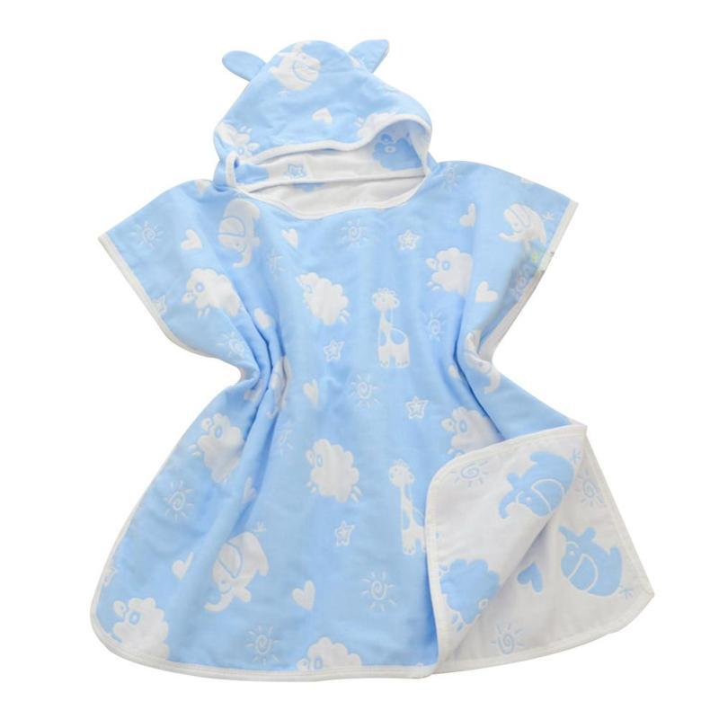 Soft Hooded baby bathrobe towel Cotton Gauze infant baby Absorbing Drying bath Towels Washcloth Infant Wrap Swaddles Gift D3 fashionable color block bus pattern soft cotton hooded towels