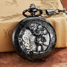 Black Mouse Mechanical Pocket Watch with Chain Engraved Holl