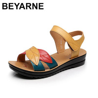 BEYARNEsummer New Mother Sandals Soft Bottom Anti Skid Middle Aged Fashion Woman Sandals Flat Comfortable Women