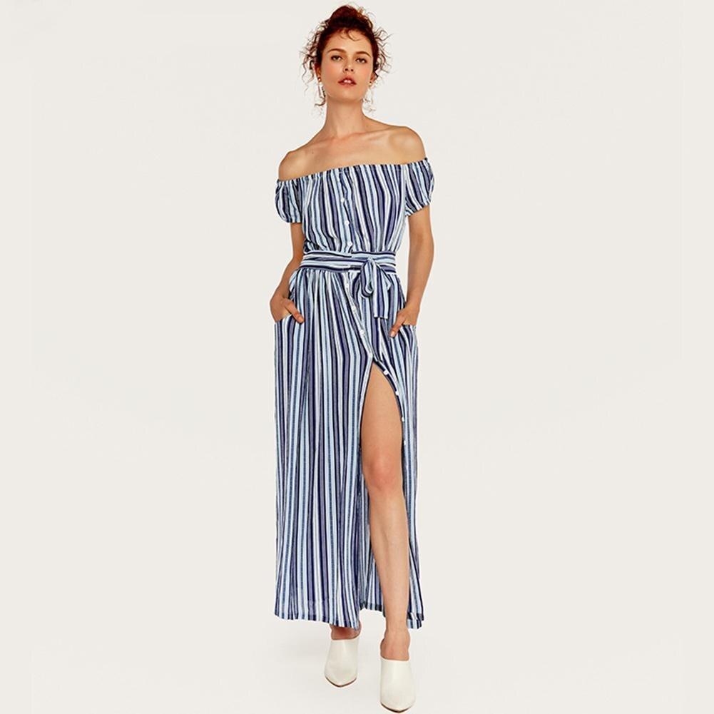 Yfashion Women Summer Sexy Off shoulder Strapless Striped Split Dress