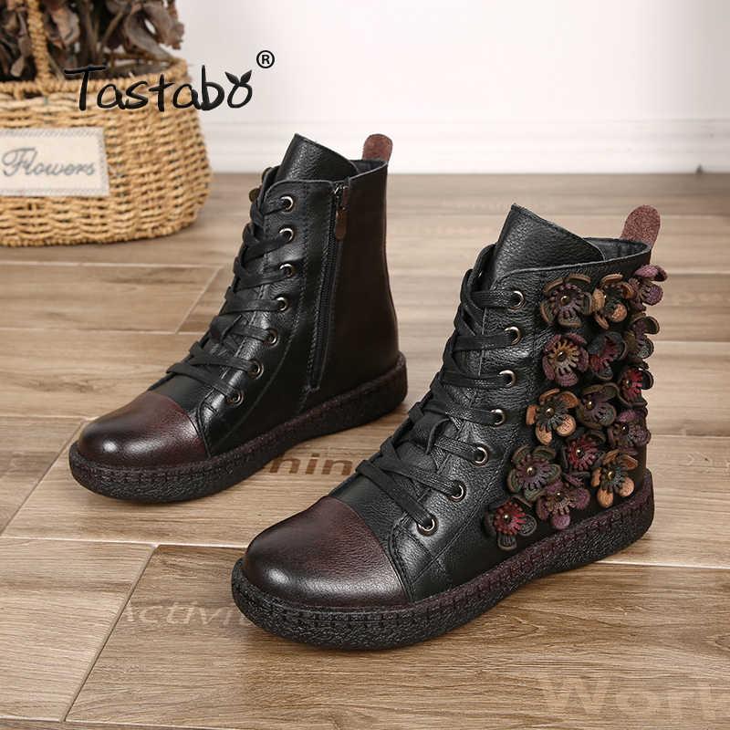 Tastabo Çiçek yarım çizmeler Kadınlar için Kış Çizmeler ile Kürk Klasik Siyah Düz Hakiki deri ayakkabı Bayan Botları