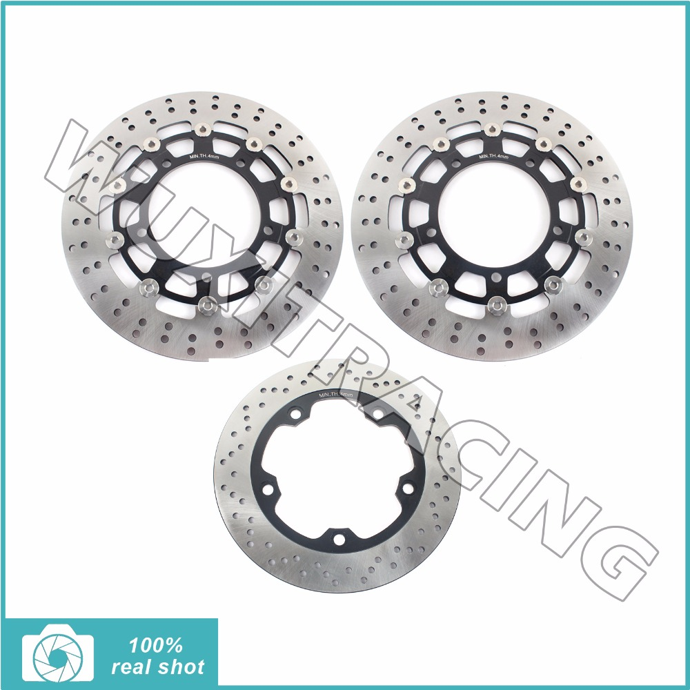 Full Set Front Rear Brake Discs Rotors for SUZUKI GSR 400 600 750 ABS 06-16 GSF 650 1200 BANDIT S ABS 06-14 GSX 650 FA ABS 08-14 full set front rear brake discs disks rotors pads for suzuki gsxr 750 94 95 gsx r 1100 p r s t 1993 1994 1995 1996