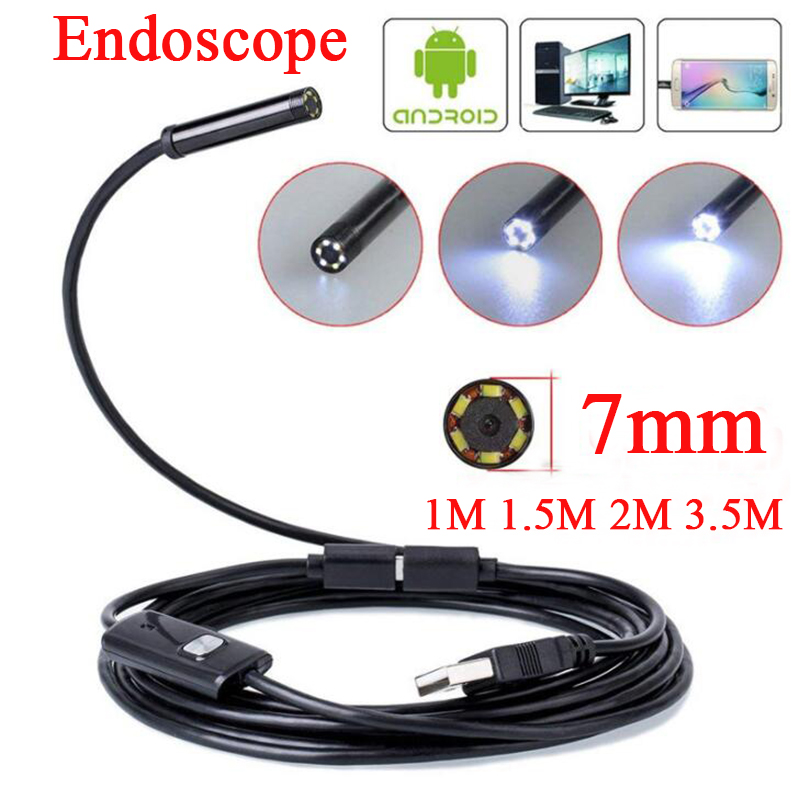 7MM Endoscope Camera Flexible USB Mini Camcorders IP67 Waterproof 6 LEDS Borescope Inspection Camera For Android PC Laptop
