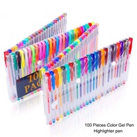 100 pieces Colorful gel Pen Set Glitter Neon Metallic Drawing Graffiti Pens Sketching Painting School Office Supplies for Kids
