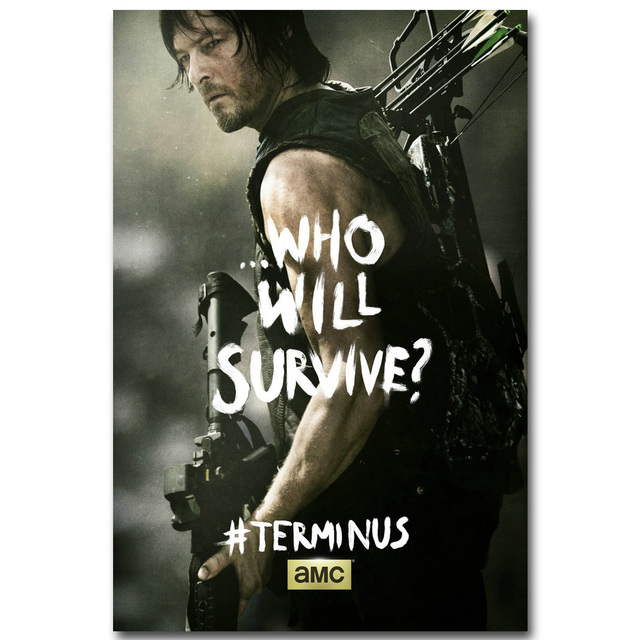 The Walking Dead Art Silk Fabric Poster Print 13×20 24x36inch TV Series Pictures for Room Wall Decoration Rick Daryl 029